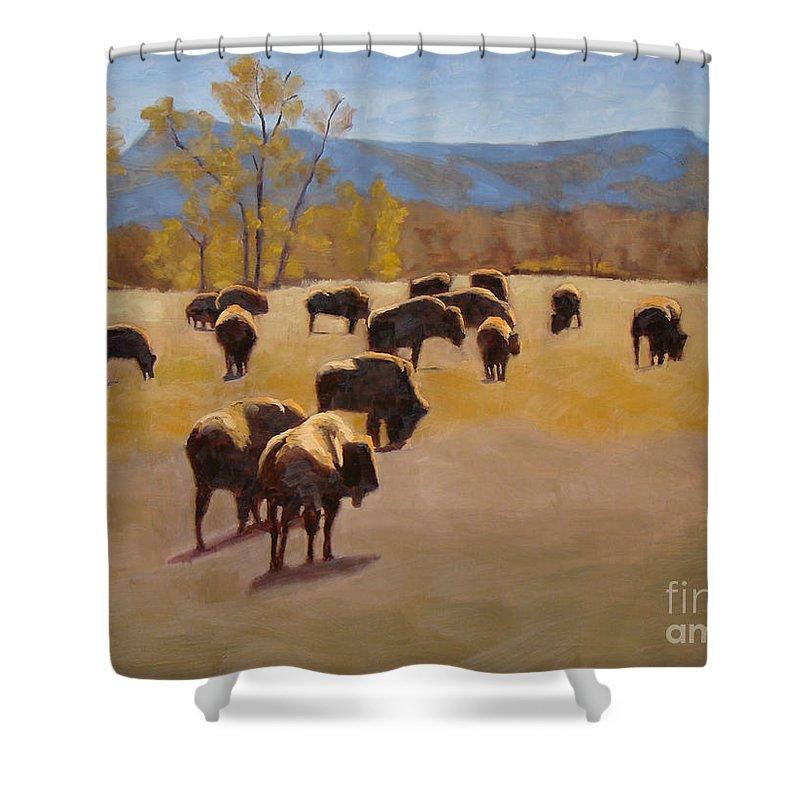 Buffalo Shower Curtain featuring the painting Where the buffalo roam by Tate Hamilton