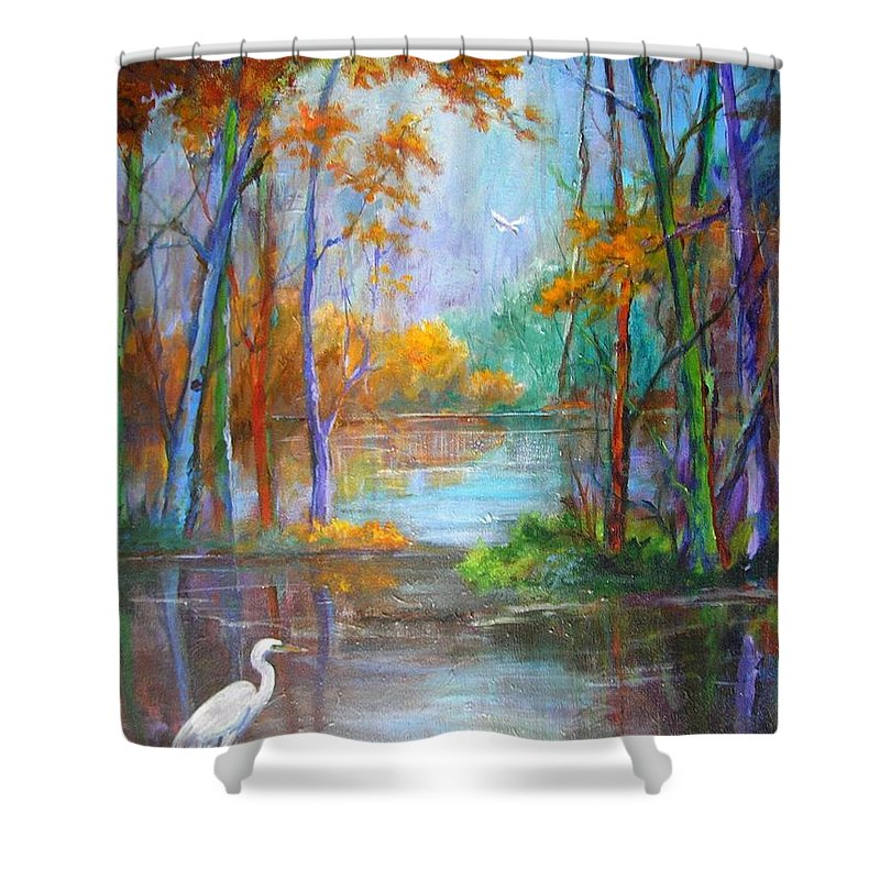 Landscape Shower Curtain featuring the painting Where The Egret Lives by Barbara Couse Wilson