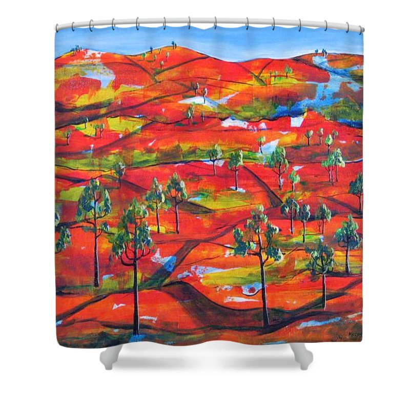Landscape Shower Curtain featuring the painting Where The Road Goes   by Rollin Kocsis