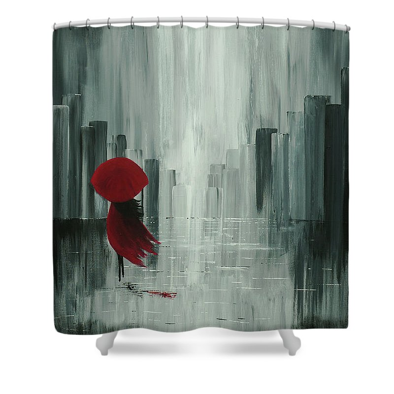Abstract Shower Curtain featuring the painting Wherever My Feet Shall Take Me by Indra Rising Creative