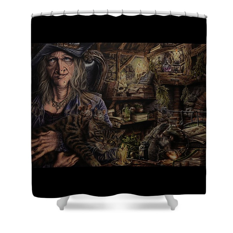 Fantasy Shower Curtain featuring the painting Which witch is which by Robert Haasdijk