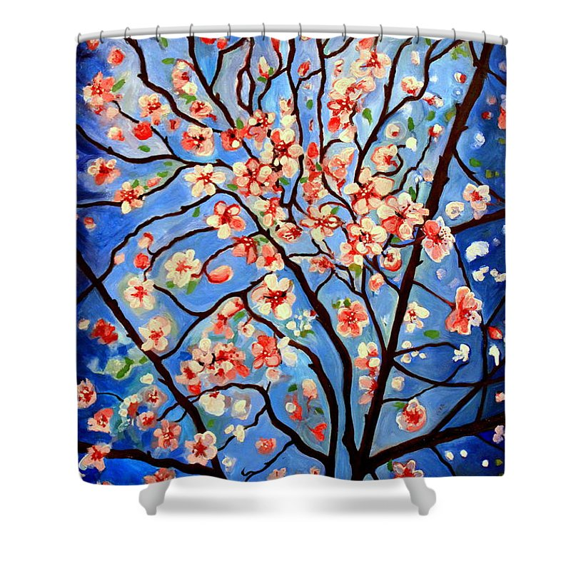 Cherry Blossoms Shower Curtain featuring the painting Whimsical by Elizabeth Robinette Tyndall