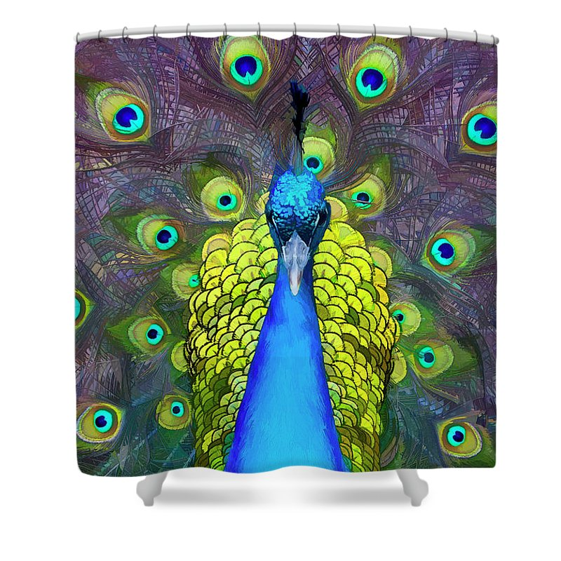 Peacock Shower Curtain featuring the digital art Whimsical Peacock by Janet Fikar