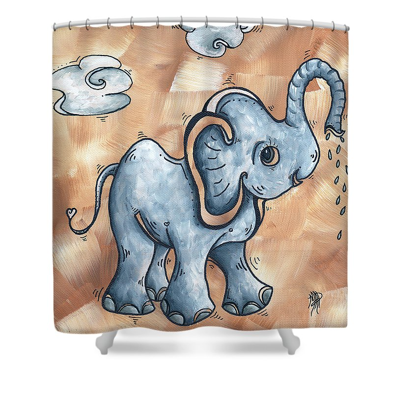 Childrens Shower Curtain featuring the painting Whimsical Pop Art Childrens Nursery Original Elephant Painting Adorable By Madart by Megan Duncanson