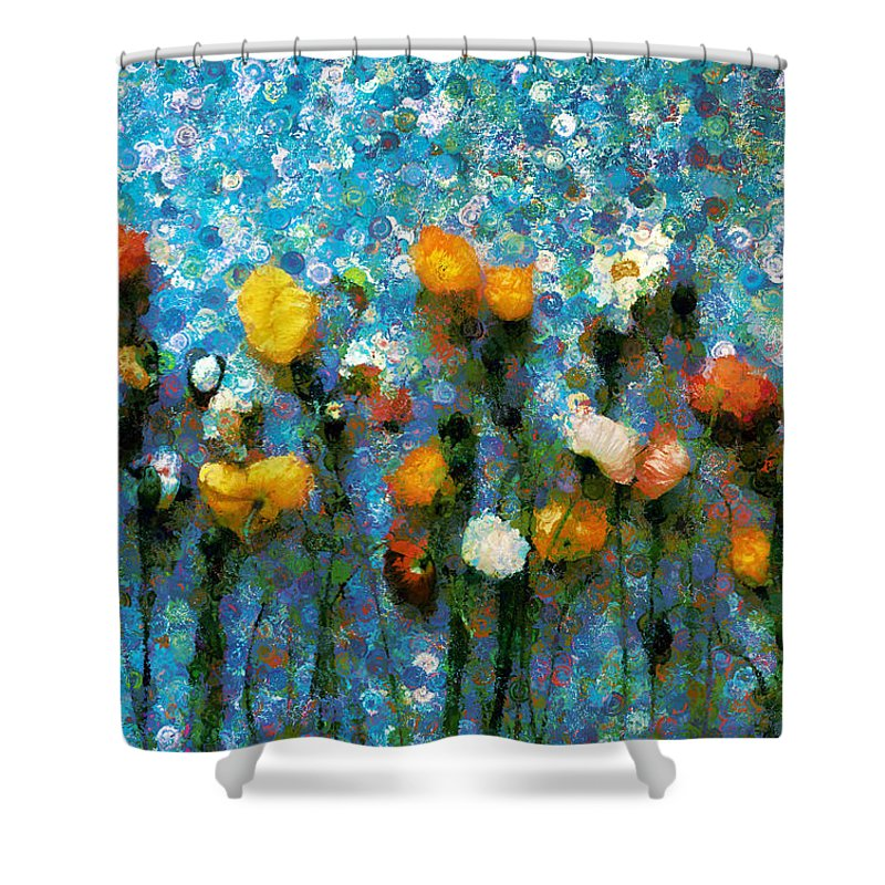 Whimsical Poppies On The Blue Wall Shower Curtain featuring the mixed media Whimsical Poppies On The Blue Wall by Georgiana Romanovna