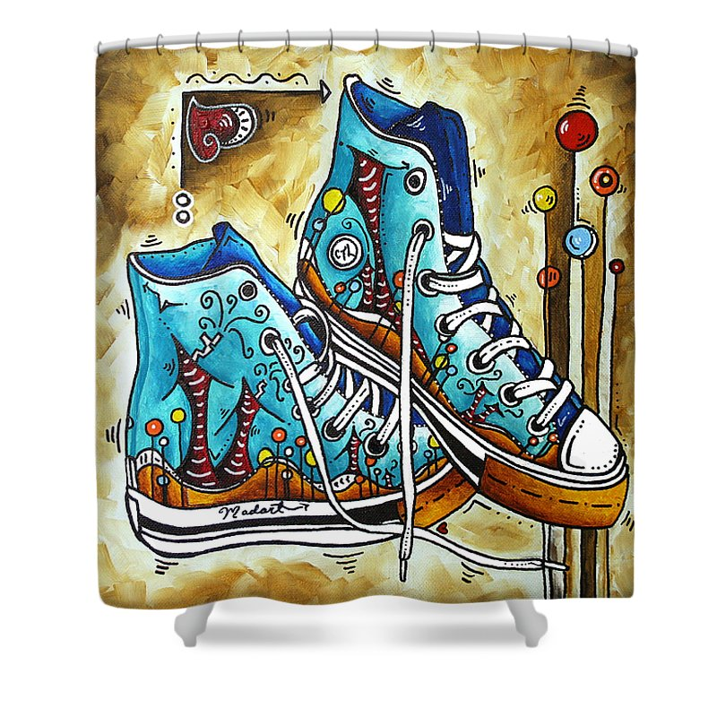 Original Shower Curtain featuring the painting Whimsical Shoes By Madart by Megan Duncanson