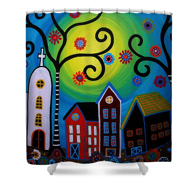 Whimsical Shower Curtain featuring the painting Whimsical Town by Pristine Cartera Turkus