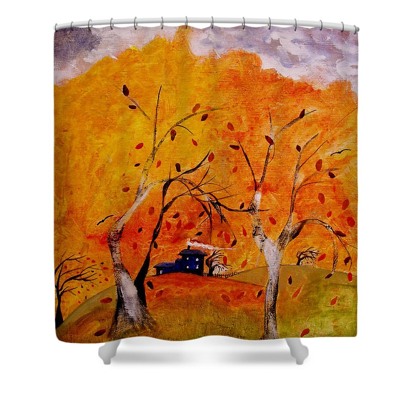 Abstract Shower Curtain featuring the painting Whimsical Wind by Ruth Palmer