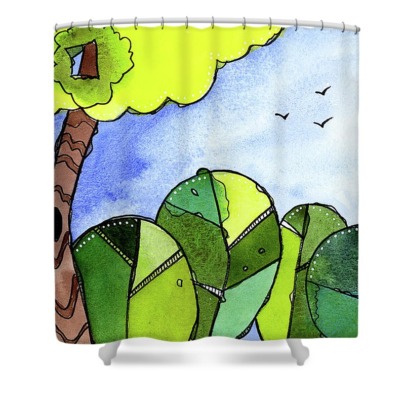 Painting Shower Curtain featuring the painting Whimsy Trees by Tonya Doughty