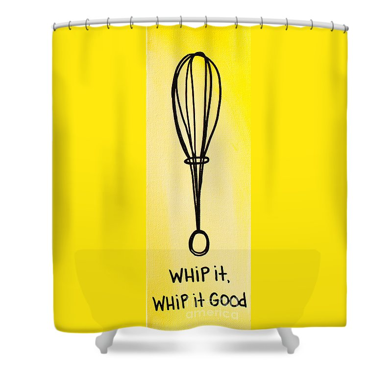 Yellow Shower Curtain featuring the painting Whip It Good by Liz Martinez