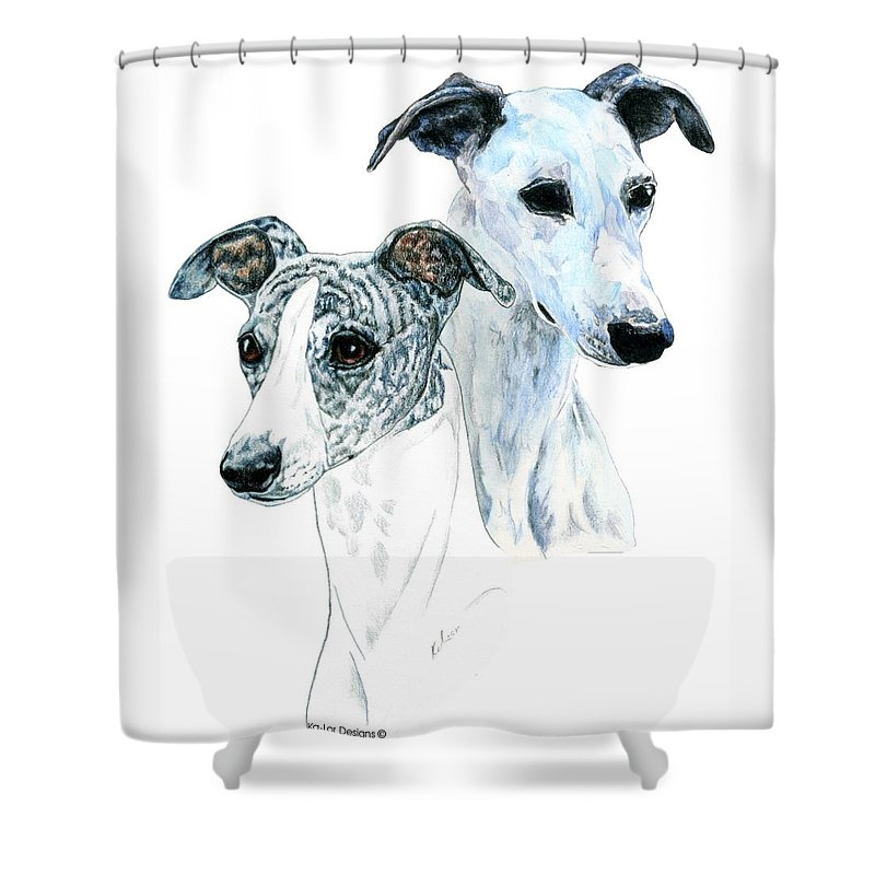 Whippet Shower Curtain featuring the painting Whippet Pair by Kathleen Sepulveda