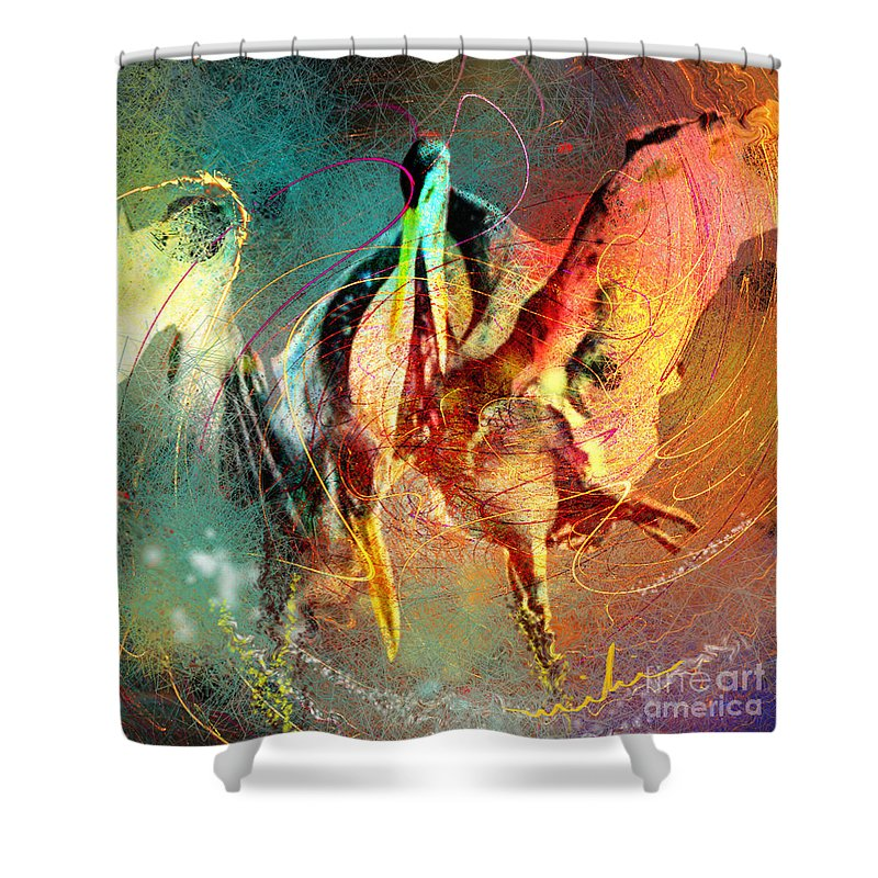 Miki Shower Curtain featuring the painting Whirled In Digital Rainbow by Miki De Goodaboom