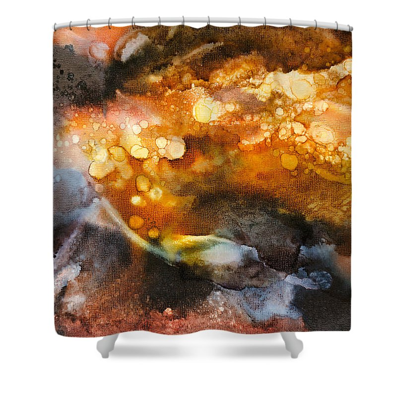 Abstract Shower Curtain featuring the painting Whirling Whisper - C - by Sandy Sandy