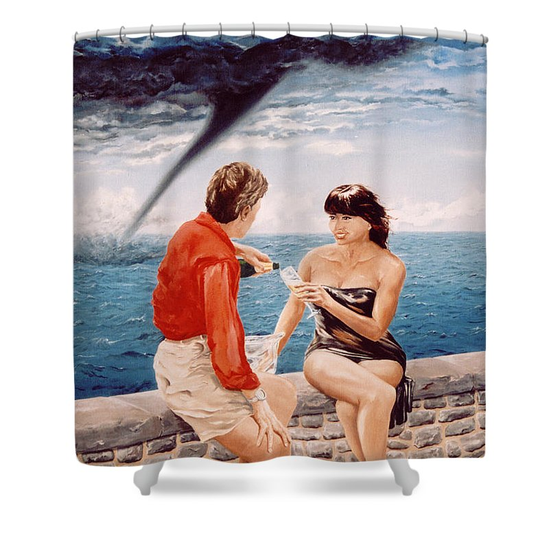 Whirlwind Shower Curtain featuring the painting Whirlwind Romance by Mark Cawood