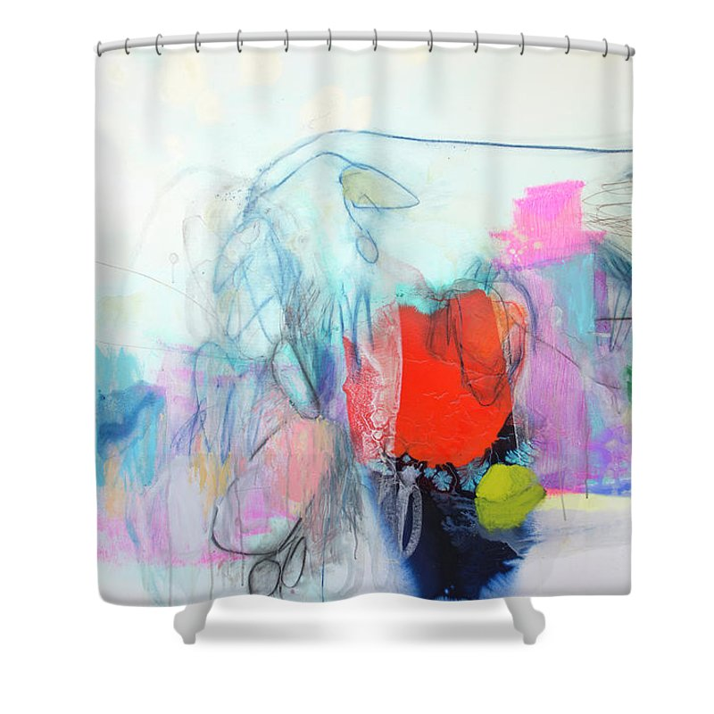 Abstract Shower Curtain featuring the painting Whisper by Claire Desjardins