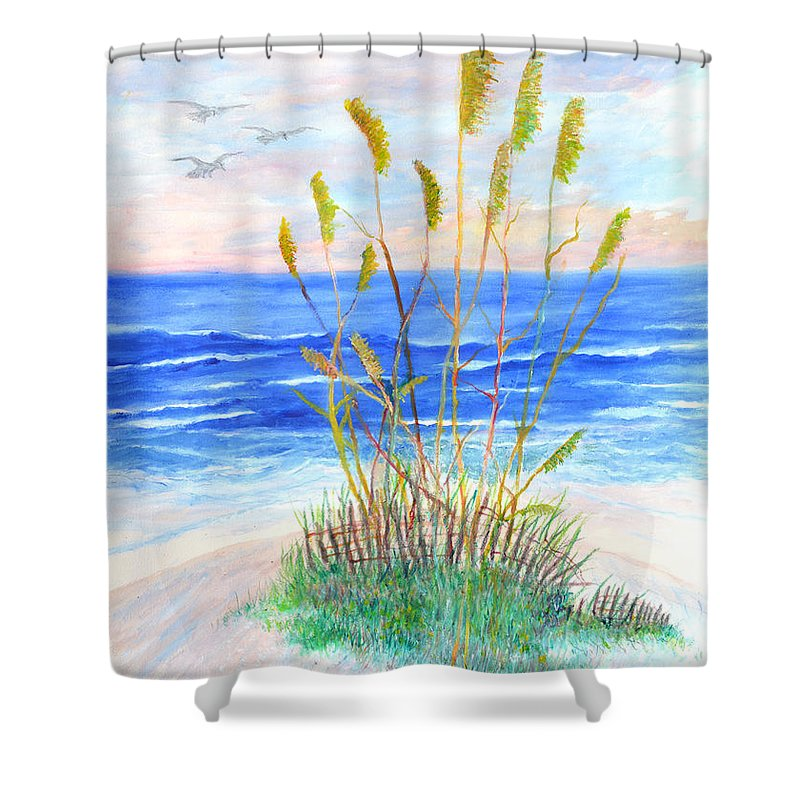 Sea Oats Shower Curtain featuring the painting Whispering Sea Oats by Ben Kiger