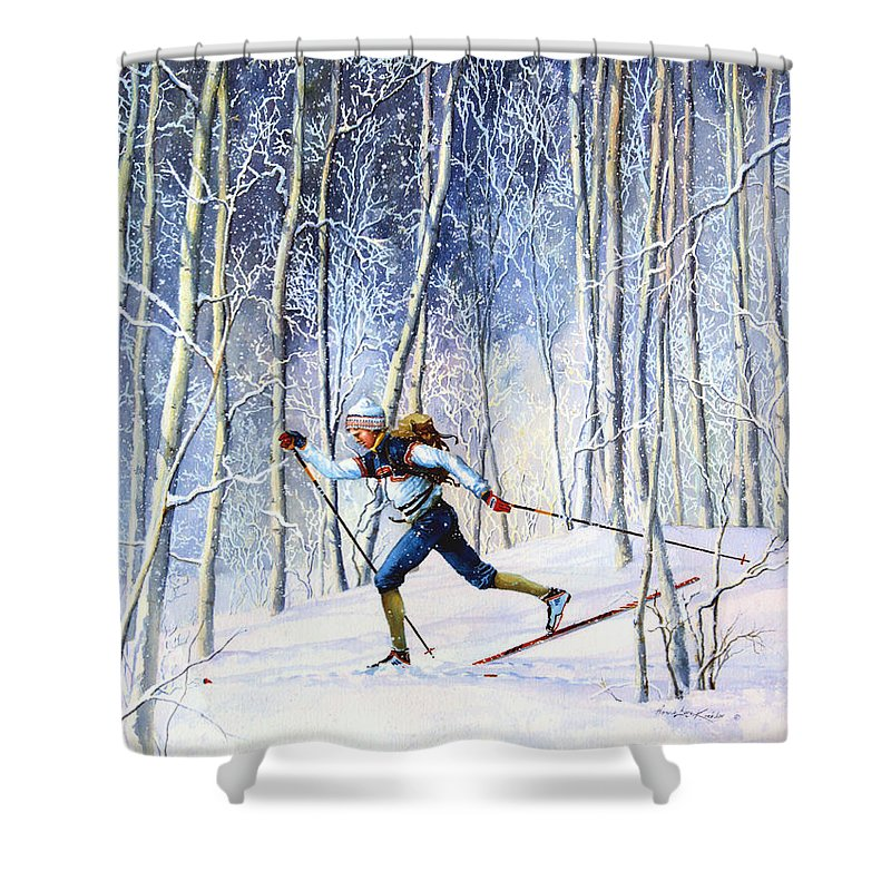 Sports Artist Shower Curtain featuring the painting Whispering Tracks by Hanne Lore Koehler