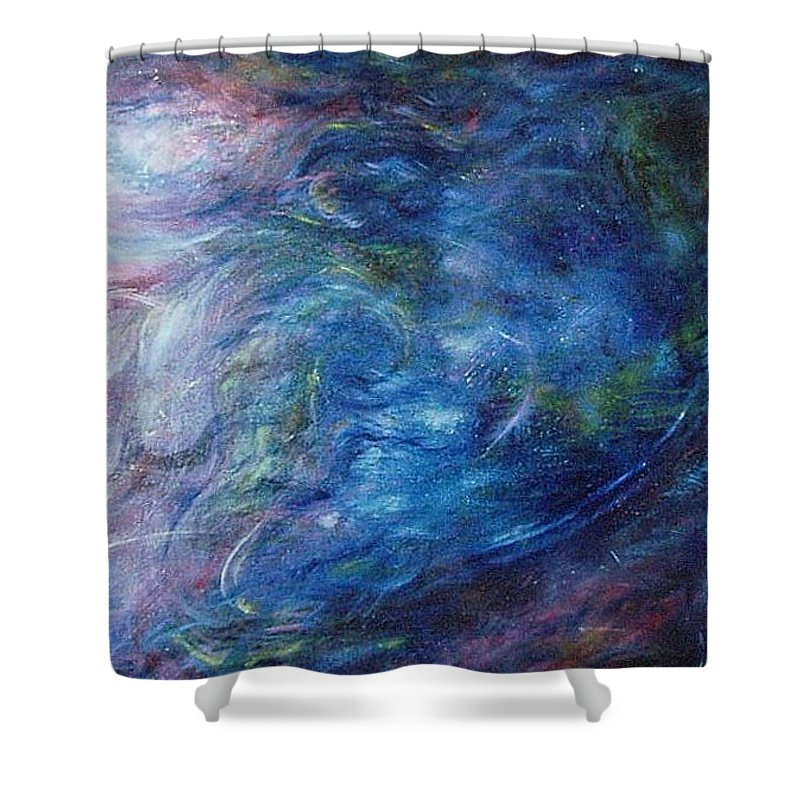 Abstract Shower Curtain featuring the painting Whispers In A Sea Of Blue by Nancy Mueller
