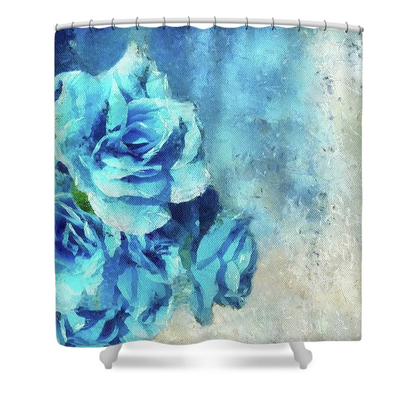 Flowers Shower Curtain featuring the painting Whispers Of Blue by Jamie Holbrook