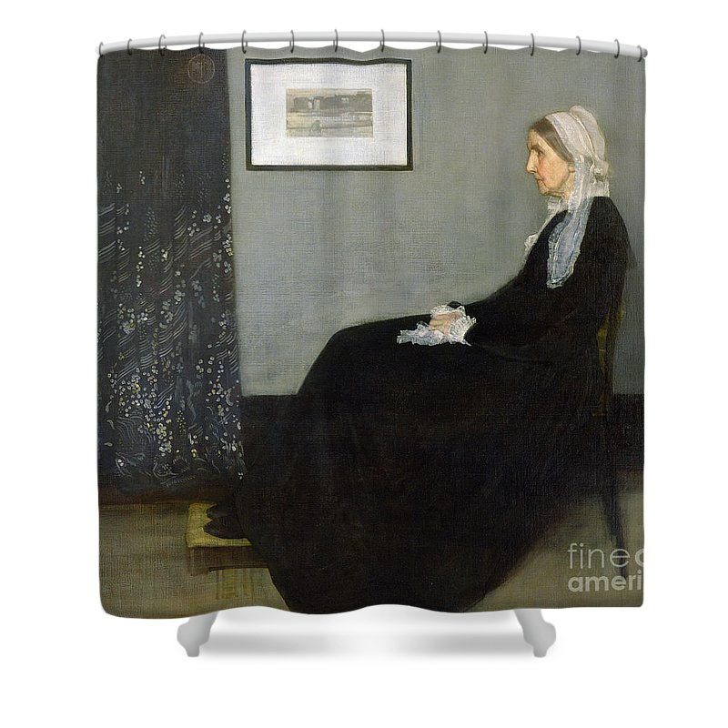 Arrangement Shower Curtain featuring the painting Whistlers Mother by James Abbott McNeill Whistler