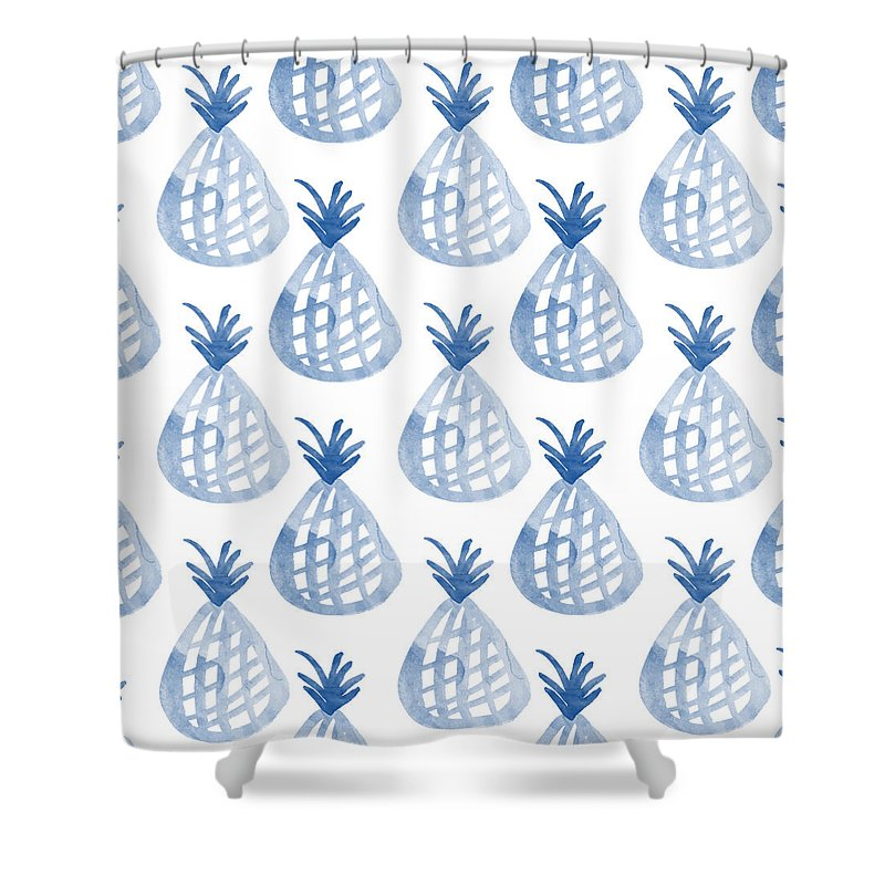 White And Blue Pineapple Party Shower Curtain For Sale By Linda Woods