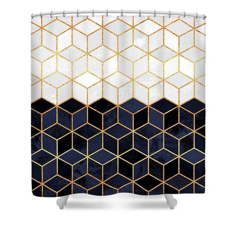 Navy Blue And Gold Shower Curtains