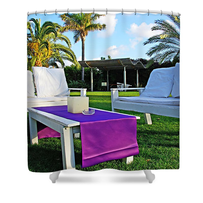 White Shower Curtain featuring the photograph White And Purple by Zal Latzkovich
