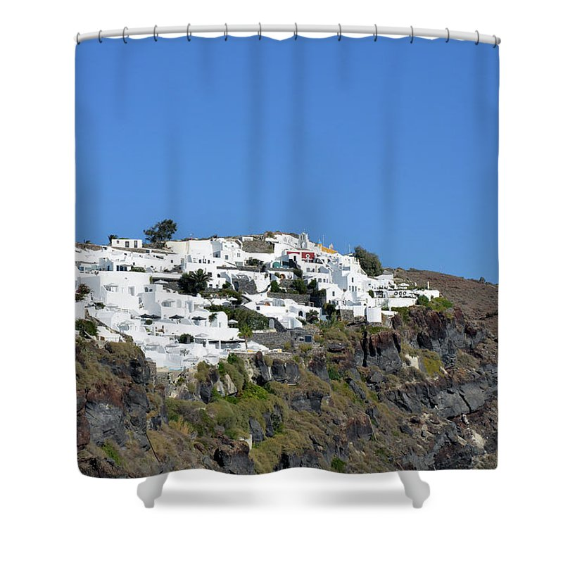 Greece Shower Curtain featuring the photograph White Architecture In The City Of Oia In Santorini, Greece by Oana Unciuleanu