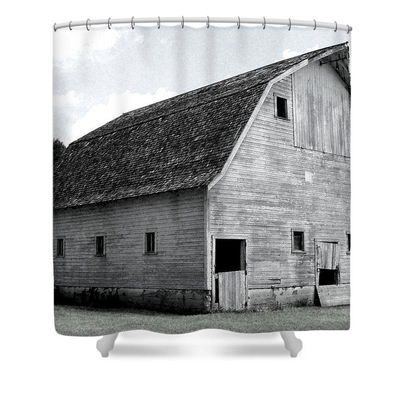 Barn Shower Curtain featuring the photograph White Barn by Julie Hamilton