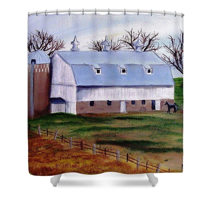 White Shower Curtain featuring the painting White Barn On A Cloudy Day by Mendy Pedersen