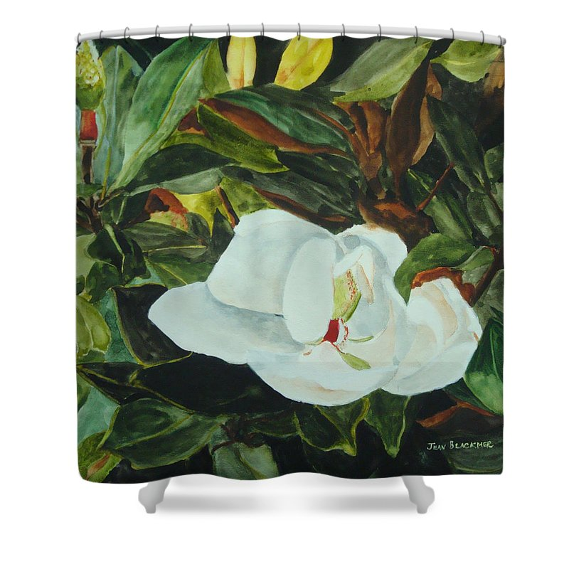 Flower Shower Curtain featuring the painting White Beauty by Jean Blackmer