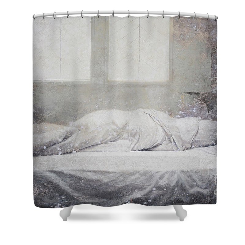 Linger Series Shower Curtain featuring the painting White Bed Sheet- Warmth by Tuck Wai Cheong