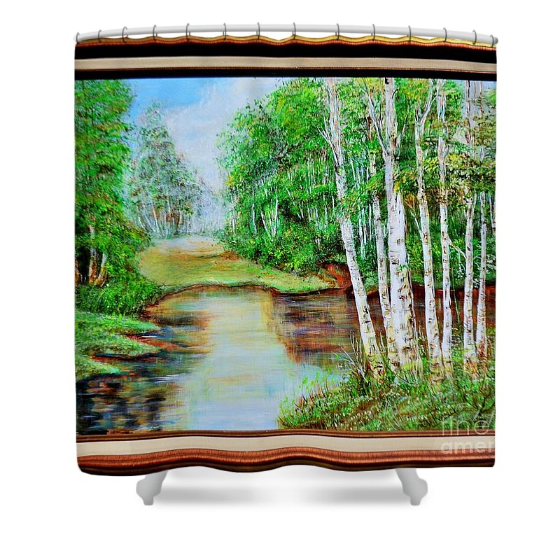 Nort Jerseje Lake Shower Curtain featuring the painting White Birch On The Lake by Cvetko Ivanov