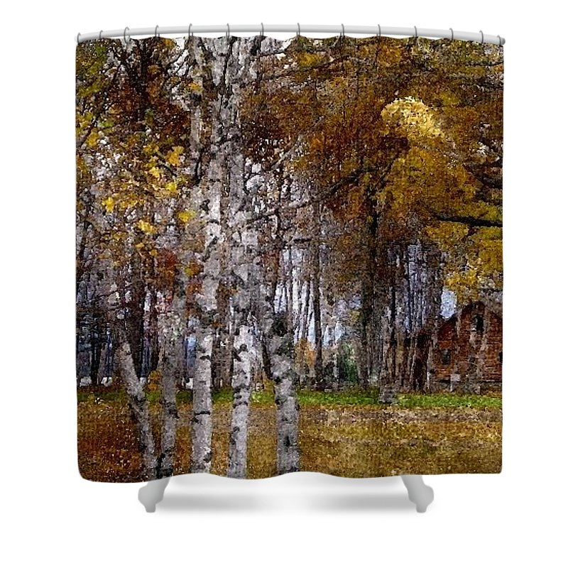 White Shower Curtain featuring the digital art White Birch Wbwc by Jim Brage