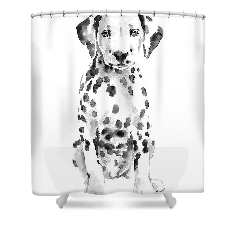 Dalmatian Dog Watercolor Painting White Black Spotted Puppy Art Print Shower Curtain For Sale By Joanna Szmerdt