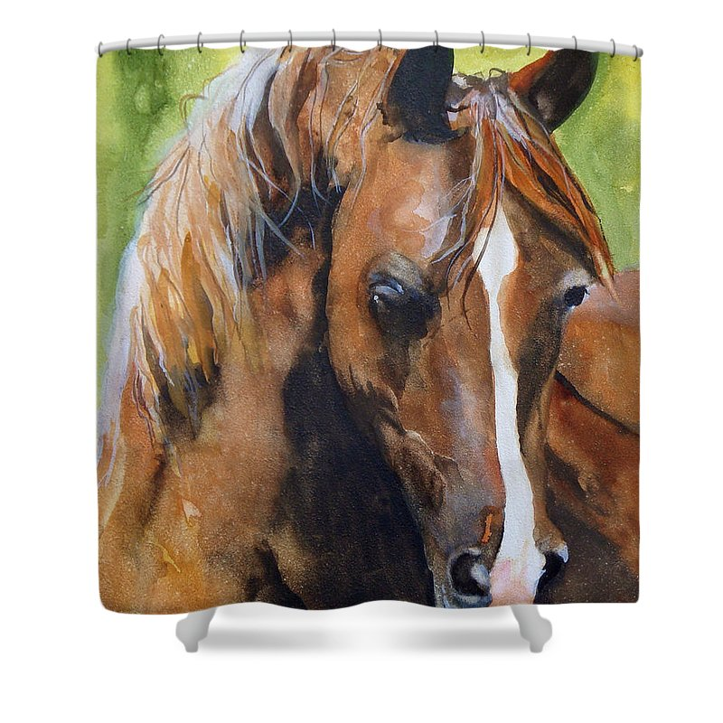 Horse Shower Curtain featuring the painting White Blaze by Jean Blackmer