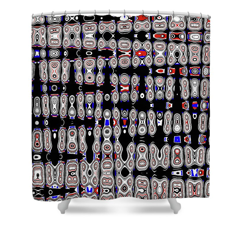 White Blocks With Added Color Shower Curtain featuring the digital art White Blocks With Added Color, by Tom Janca