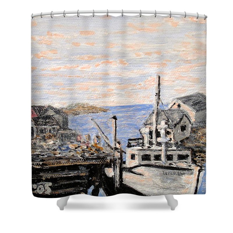 White Shower Curtain featuring the painting White Boat In Peggys Cove Nova Scotia by Ian MacDonald