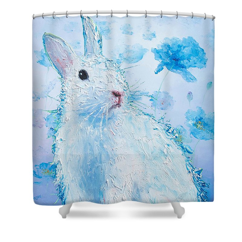 Rabbit Shower Curtain Featuring The Painting White Bunny On Blue Floral Background By Jan Matson