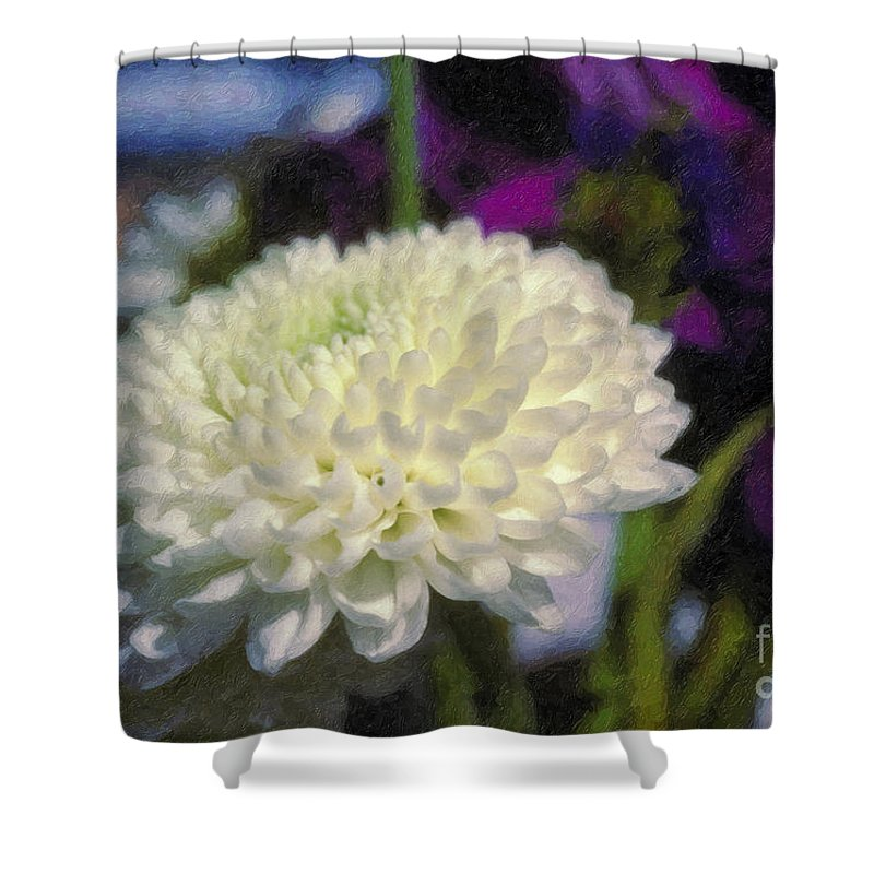 White Chrysanthemum Flower Beautiful Mum Shower Curtain featuring the photograph White Chrysanthemum Flower by David Zanzinger