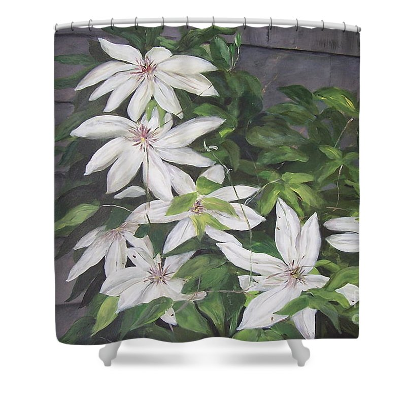 Floral Shower Curtain featuring the painting White Clematis by Elizabeth Ellis