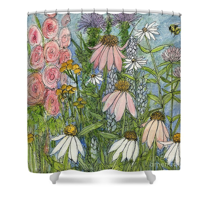 Nature Shower Curtain featuring the painting White Coneflowers In Garden by Laurie Rohner