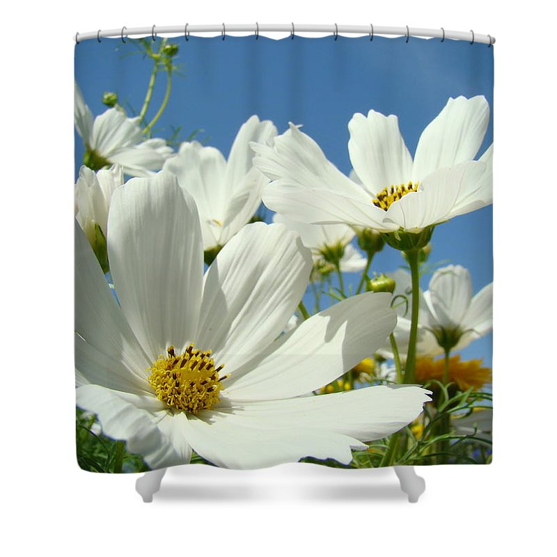 Daisy Shower Curtain featuring the photograph White Daisy Flowers Fine Art Photography Daisies Baslee Troutman by Baslee Troutman