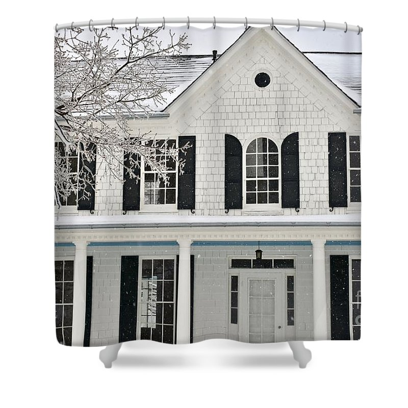 Charming Home Shower Curtain featuring the photograph White Farm House In Winter by Jeramey Lende