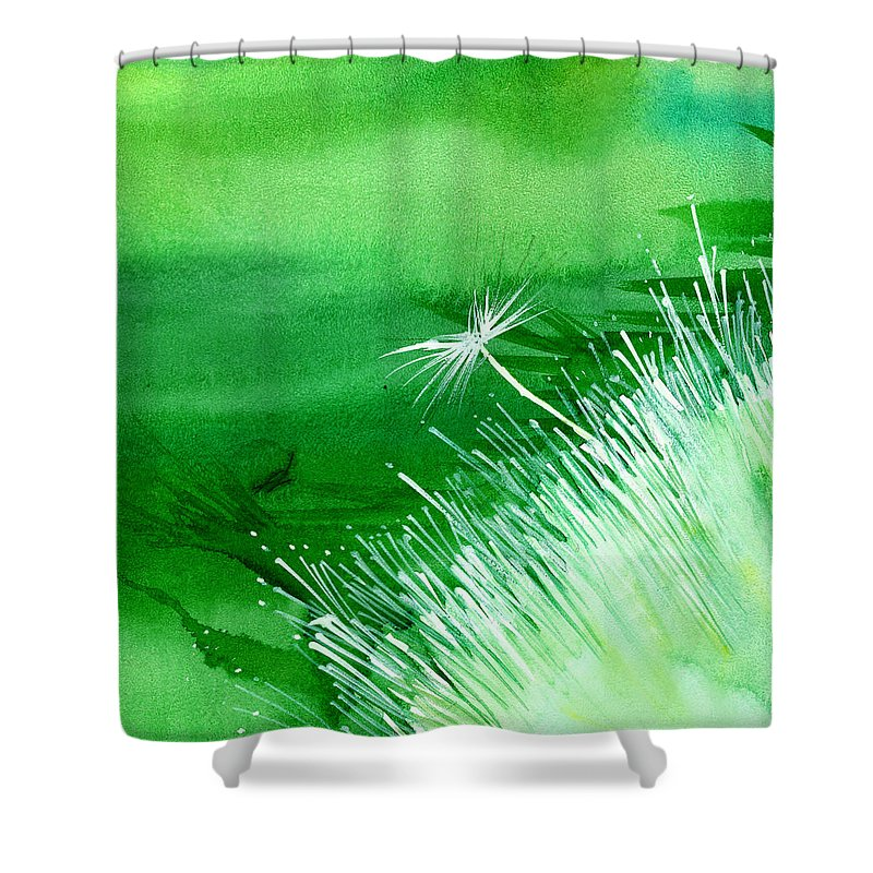 Flowers Shower Curtain featuring the painting White Flower by Anil Nene