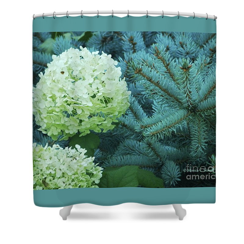 White Flowers Shower Curtain featuring the photograph White Flowers W14 by Monica C Stovall