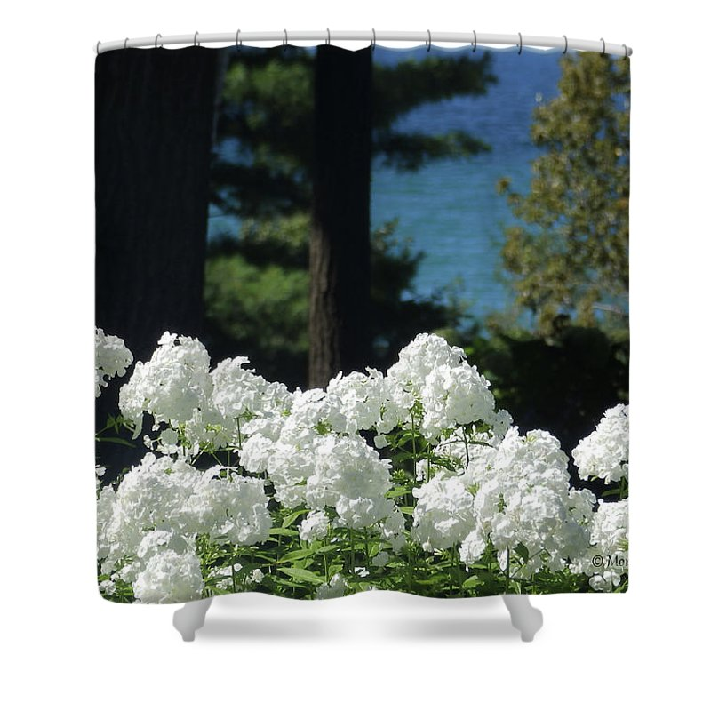 White Flowers Shower Curtain featuring the photograph White Flowers W16 by Monica C Stovall