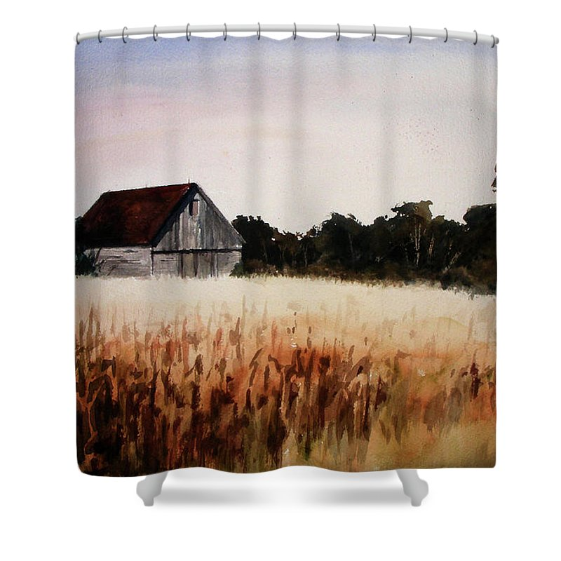 Landscape Shower Curtain featuring the painting White For Harvest by Rachel Christine Nowicki