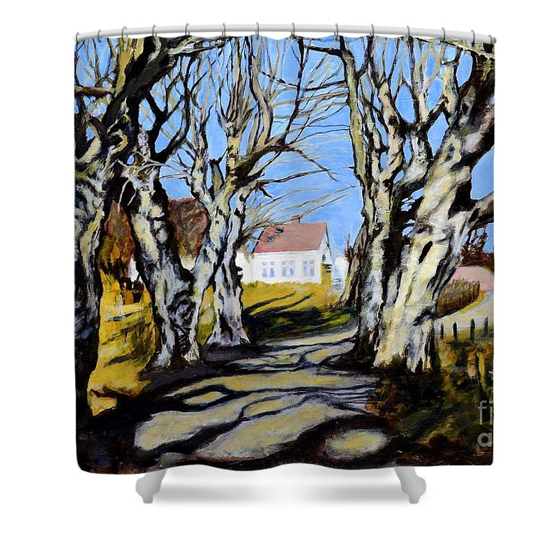 Village Shower Curtain featuring the painting White Grove by Suzann Sines