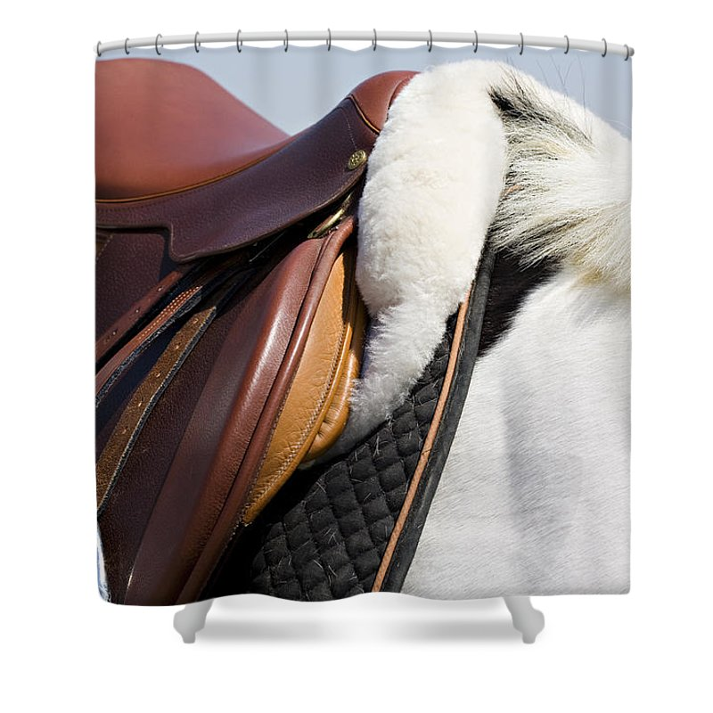 Horse Shower Curtain featuring the photograph White Horse And Saddle by Marilyn Hunt